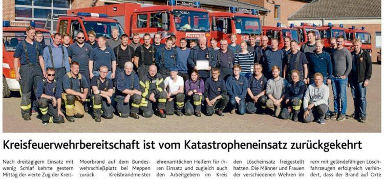 Einsatz Moorbrand Kreisfeuerwehrbereitschaft Vechta in Meppen